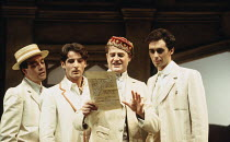 LOVE'S LABOUR'S LOST by Shakespeare  director: Ian Judge l-r: Robert Portal (Dumaine), Jeremy Northam (Berowne), Owen Teale (King of Navarre), Guy Henry (Longaville)~Royal Shakespeare Company (RSC), R...
