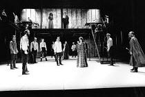MACBETH  by Shakespeare   set design: Chris Dyer   costumes: Poppy Mitchell  lighting: Howard Eaton   director: Howard Davies   left: Bob Peck (Macbeth)  centre right: Sara Kestelman (Lady Macbeth)  r...
