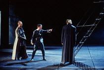MACBETH by Shakespeare  design: Ian MacNeil  lighting: Alan Burrett  fights arranger: Malcolm Ranson  director: Adrian Noble l-r: Michael Jenn (Angus), Neil Caple (Porter), Michael Siberry (Macduff)Ro...
