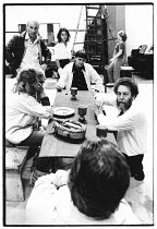 right: John Barton (director) with cast members (including, left, Patrick Stewart / Titus Andronicus) in rehearsal for TITUS ANDRONICUS by Shakespeare   Royal Shakespeare Company (RSC), Royal Shakespe...