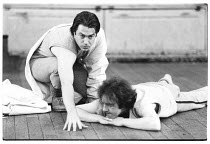 Roger Allam (Oberon) and David Whitaker (Puck) in rehearsal for the 1983 RSC NatWest Tour production of A MIDSUMMER NIGHT'S DREAM by Shakespeare   Royal Shakespeare Company (RSC), The Other Place, St...