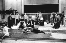 rehearsal for ' The Murder of Gonzago' scene in HAMLET by Shakespeare - centre left: Roger Rees (Hamlet)  rear: Brian Blessed (Claudius), Virginia McKenna (Gertrude)  directed by Ron Daniels   Royal S...