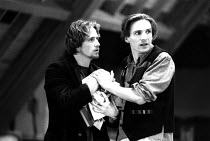 l-r: Linus Roache (Edgar), Ralph Fiennes (Edmund) in rehearsal for the Royal Shakespeare Company (RSC) production of KING LEAR by Shakespeare opening at the Royal Shakespeare Theatre, Stratford-upon-A...