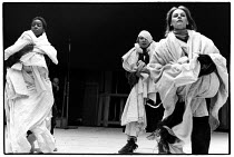 MACBETH  by Shakespeare: the Witches (Weird Sisters) in rehearsal - l-r: Josette Simon, Katy Behean, Christine Kavanagh  director: Howard Davies Royal Shakespeare Company (RSC), Royal Shakespeare Thea...