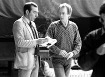 Pete Postlethwaite (Macduff) with director Howard Davies in rehearsal for MACBETH  by Shakespeare Royal Shakespeare Company (RSC), Royal Shakespeare Theatre, Stratford-upon-Avon, England  31/03/1982...