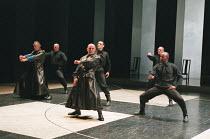CORIOLANUS  by Shakespeare   design: Patrick Connellan   lighting: Jon Linstrum   director: Steven Berkoff front centre: Steven Berkoff (Coriolanus)  right: Colin McFarlane (Tullus Aufidius)West Yorks...