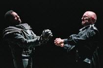 CORIOLANUS  by Shakespeare   design: Patrick Connellan   lighting: Jon Linstrum   director: Steven Berkoff miming conflict, l-r: Colin McFarlane (Tullus Aufidius), Steven Berkoff (Coriolanus)  West Yo...
