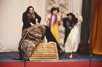 DIE LUSTIGEN WEIBER VON WINDSOR ( THE MERRY WIVES OF WINDSOR ) by Shakespeare  set design: Heike Neugebauer  costumes: Uschi Leinhauser Barbel Emde and Company director: Chris Alexander l-r: (in rug)...