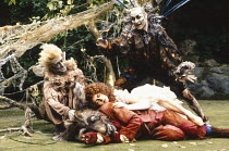 A MIDSUMMER NIGHT'S DREAM by Shakespeare  design: Paul Farnsworth  lighting: Jason Taylor  director: Ian Talbot   l-r: Richard O'Callaghan (Puck), Roy Hudd (Bottom), Louise Gold (Titania), Bill Home...