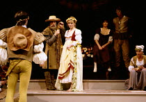 THE WINTER'S TALE by Shakespeare  set design: Alan Pickford  costumes: Alix Stone  lighting: Richard Caswell  director: Hugh Hunt centre: Angharad Rees (Perdita) The Young Vic, London SE1  24//11/1981...