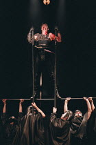 CORIOLANUS by Shakespeare  design: Farrah  lighting: Terry Hands and Clive Morris  director: Terry Hands  ~Alan Howard (Coriolanus)~Royal Shakespeare Company (RSC), Aldwych Theatre, London WC2  1979...