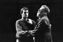 KING LEAR by Shakespeare  design: Chris Dyer  lighting: Robert A Jones  director: Cicely Berry  l-r: James Purefoy (Edgar), Desmond Barrit (Earl of Gloucester)Royal Shakespeare Company (RSC), Almeida...