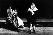 KING LEAR by Shakespeare  design: Hildegard Bechtler  lighting: Jean Kalman  director: Deborah Warner   l-r: Derek Hutchinson (Edgar / Poor Tom), David Bradley (Fool), Ian McKellen (Earl of Kent), B...