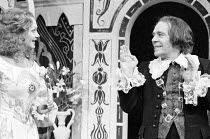 TWELFTH NIGHT by Shakespeare  design: Peter Rice  lighting: Graham Phoenix  director: John Cox   Anna Carteret (Olivia), Max Wall (Malvolio) Greenwich Theatre, London SE10   10/03/1977...