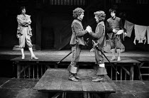 TWELFTH NIGHT by Shakespeare  design: Poppy Mitchell  lighting: Mike Alvey  director: Nancy Meckler l-r: Maynard Williams (Feste), Malcolm Reynolds (Sebastian), Marty Cruickshank (Viola), Michel Fitzg...