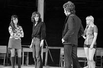 SKYVERS by Barry Reckord  design: Charles Dunlop  director: Pam Brighton  l-r: Pam Scotcher (Sylvia), Jonathan Bergman (Brook), Billy Hamon (Adams), Cheryl Hall (Helen) transfer of 1971 Royal Court Th...
