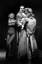 THE BALCONY  by Jean Genet  design: Farrah  lighting: Clive Morris & Terry Hands  director: Terry Hands l-r: Kathryn Pogson (Carmen), Jim Carter (Judge), Vivienne Rochester (Thief) * Lo-res scan for r...