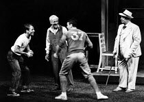 DEATH OF A SALESMAN by Arthur Miller  set design: John Gunter  costumes: Lindy Hemming  director: Michael Rudman l-r: David Baxt (Happy), Warren Mitchell (Willy Loman), Stephen Greif (Biff), Harold Ka...