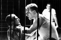 DEATHWATCH  by Jean Genet  design: Ultz  directors: Gerard Murphy & David Ultz   l-r: Patrick Bailey (Maurice), Gerard Murphy (Green Eyes), Miles Anderson (Lefranc)  Royal Shakespeare Company (RSC) /...
