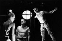 DEATHWATCH  by Jean Genet  design: Ultz  directors: Gerard Murphy & David Ultz   l-r: Patrick Bailey (Maurice), Miles Anderson (Lefranc), Gerard Murphy (Green Eyes)  Royal Shakespeare Company (RSC) /...