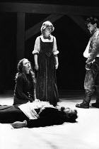 ARDEN OF FAVERSHAM   by Anonymous   design: Kandis Cook   director: Terry Hands l-r: Jenny Agutter (Alice), Cathy Finlay (Susan), Bruce Purchase (Arden), Mark Rylance (Michael) Royal Shakespeare Compa...