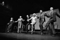 top left: David Hill  on stage, l-r: Denise Coffey, Hugh Hastings, John Standing, Rachel Kempson, Nigel Hawthorne, Anthony Nash in A SENSE OF DETACHMENT by John Osborne at the Royal Court Theatre, Lon...