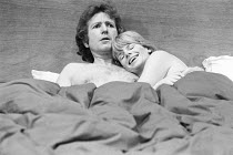Keith Barron (Leonard Grimthorpe), Jill Bennett (Isobel Sands) in THE END OF ME OLD CIGAR by John Osborne at the Greenwich Theatre, London SE10  06/01/1975 ~design: Hayden Griffin  costumes: Ruth Myer...