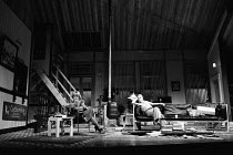 WATCH IT COME DOWN  by John Osborne  set design: Hayden Griffin  costumes: Deirdre Clancy  director: Bill Bryden Jill Bennett (Sally Prosser), Frank Finlay (Ben Prosser)National Theatre, Old Vic Theat...