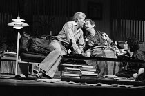 WATCH IT COME DOWN  by John Osborne  set design: Hayden Griffin  costumes: Deirdre Clancy  director: Bill Bryden  l-r: Frank Finlay (Ben Prosser), Michael Gough (Glen), Susan Fleetwood (Jo)National Th...