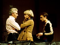 WATCH IT COME DOWN  by John Osborne  set design: Hayden Griffin  costumes: Deirdre Clancy  director: Bill Bryden  l-r: Frank Finlay (Ben Prosser), Jill Bennett (Sally Prosser), Michael Feast (Raymond)...