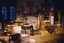 DEJAVU  by John Osborne  design: Geoffrey Scott  lighting: Leonard Tucker  director: Tony Palmer   stage,empty,set co-production with Thorndike Theatre, Leatherhead / Comedy Theatre, London SW1  10/06...