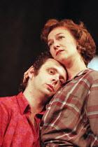 Michael Sheen (Jimmy Porter), Matilda Ziegler (Helena Charles) in LOOK BACK IN ANGER by John Osborne at the Lyttelton Theatre, National Theatre (NT), London SE1  15/07/1999  design: Robert Jones  lig...