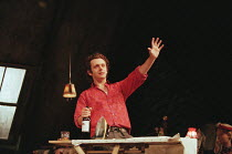 Michael Sheen (Jimmy Porter) in LOOK BACK IN ANGER by John Osborne at the Lyttelton Theatre, National Theatre (NT), London SE1  15/07/1999  design: Robert Jones  lighting: Howard Harrison  director:...
