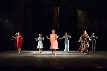 from left (in red) Tracie Bennett (Carlotta Campion), Imelda Staunton (Sally Durant Plummer), Dawn Hope (Stella Deems), Janie Dee (Phyllis Rogers Stone), Julie Armstrong (Christine Donovan) in Stephen...
