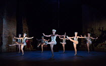 front, l-r: Emily Langham (Young Carlotta), Leisha Mollyneaux (Young Stella), Emily Goodenough (Showgirl/Swing) in Stephen Sondheim's FOLLIES opening at the Olivier Theatre, National Theatre, London S...