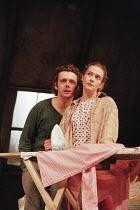 Michael Sheen (Jimmy Porter), Emma Fielding (Alison Porter) in LOOK BACK IN ANGER by John Osborne at the Lyttelton Theatre, National Theatre (NT), London SE1  15/07/1999  design: Robert Jones  lighti...