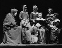 HENRY VIII  by Shakespeare  design: John Bury  lighting: John Bradley  director: Trevor Nunn   left: Brewster Mason (Wolsey)  centre: Peggy Ashcroft (Queen Katharine) Royal Shakespeare Company (RSC),...