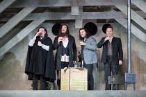 l-r: Florian Sempey (Schaunard), Luca Tittoto (Colline), Michael Fabiano (Rodolfo), Mariusz Kwiecien (Marcello) in LA BOHEME by Puccini opening at The Royal Opera, London WC2 on 11/09/2017 conductor:...