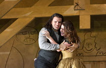 last act, Mimi is dying: Michael Fabiano (Rodolfo), Nicole Car (Mimi) in LA BOHEME by Puccini opening at The Royal Opera, London WC2 on 11/09/2017 conductor: Antonio Pappano  design: Stewart Laing  li...