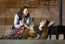 last act, Mimi lies dying: Michael Fabiano (Rodolfo), Nicole Car (Mimi) in LA BOHEME by Puccini opening at The Royal Opera, London WC2 on 11/09/2017 conductor: Antonio Pappano  design: Stewart Laing...