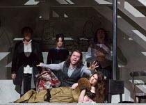 final scene, Mimi dies: Michael Fabiano (Rodolfo), Nicole Car (Mimi) watched by (l-r) Luca Tittoto (Colline), Simona Mihai (Musetta), Florian Sempey (Schaunard) in LA BOHEME by Puccini opening at The...