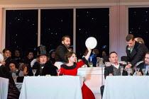 Cafe Momus - front, l-r: Wyn Pencarreg (Alcindoro), Simona Mihai (Musetta), Mariusz Kwiecien (Marcello), Florian Sempey (Schaunard) in LA BOHEME by Puccini opening at The Royal Opera, London WC2 on 11...