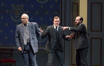 l-r: Peter Polycarpou (Ahmed Qurie), Toby Stephens (Terje Larsen), Philip Arditti (Uri Savir) in OSLO by J.T. Rogers opening in the Lyttelton Theatre, National Theatre (NT), London SE1 on 15/09/2017...