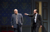l-r: Peter Polycarpou (Ahmed Qurie), Philip Arditti (Uri Savir) in OSLO by J.T. Rogers opening in the Lyttelton Theatre, National Theatre (NT), London SE1 on 15/09/2017   set design: Michael Yeargan...