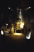 THE GIFT OF THE GORGON  by Peter Shaffer  music: Judith Weir  design: John Gunter  lighting: Rick Fisher  director: Peter Hall ~~front left: Judi Dench (Helen Damson)  right: Michael Pennington (Edwar...
