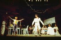 THE COMEDY OF ERRORS by Shakespeare  design: John Napier  lighting: Clive Morris  musical staging: Gillian Lynne  director: Trevor Nunn ~front left: Nickolas Grace (Dromio of Ephesus)  right: Mike Gwi...