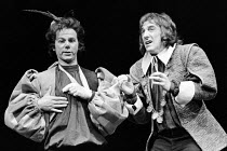 THE COMEDY OF ERRORS by Shakespeare  set design & lighting: Clifford Williams & John Wyckham  costumes: Anthony Powell  director: Clifford Williams   l-r: Geoffrey Hutchings (Dromio of Syracuse), John...