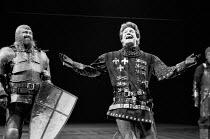 HENRY V  by Shakespeare  design: Bob Crowley  lighting: Robert Bryan  director: Adrian Noble      l-r: Brian Blessed (Duke of Exeter), Kenneth Branagh (Henry V) Royal Shakespeare Company (RSC), Roya...