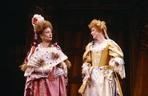 THE WAY OF THE WORLD by William Congreve  set design: Hayden Griffin  costumes: Deirdre Clancy  lighting: Andy Phillips  director: William Gaskill l-r: Joan Plowright (Lady Wishfort), Maggie Smith (Mr...