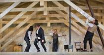 drunken behaviour, scrawling graffiti - l-r: Michael Fabiano (Rodolfo), Luca Tittoto (Colline), Mariusz Kwiecien (Marcello), Florian Sempey (Schaunard) in LA BOHEME by Puccini opening at The Royal Ope...